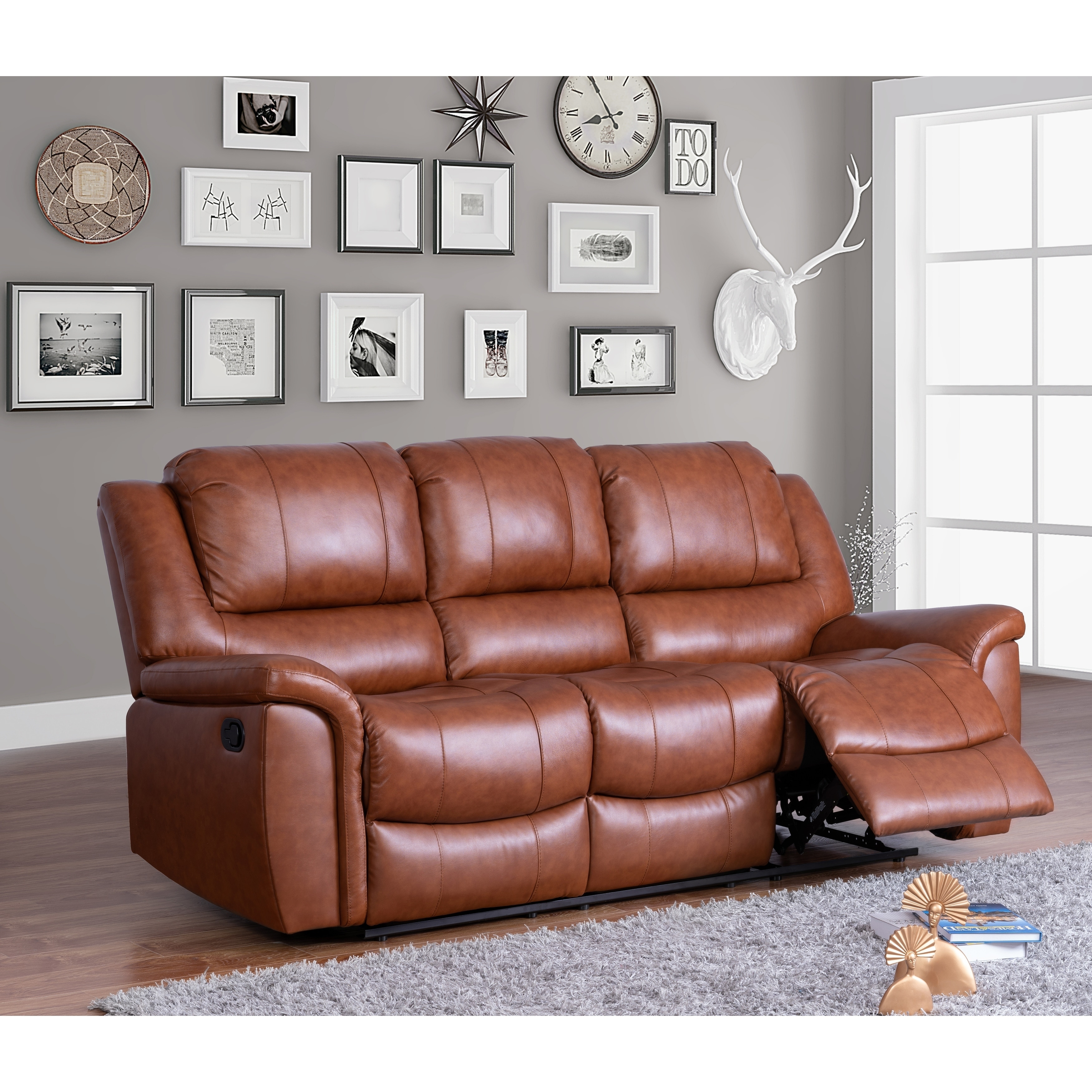 Copper Grove Forbach Top Grain Leather Reclining Sofa