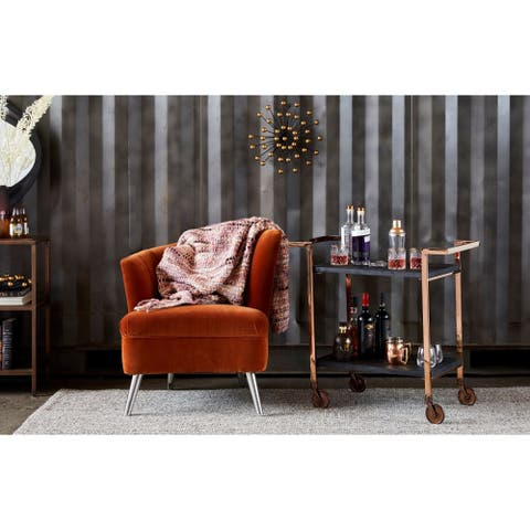 Aurelle Home Contemporary Copper and Wood Bar Cart