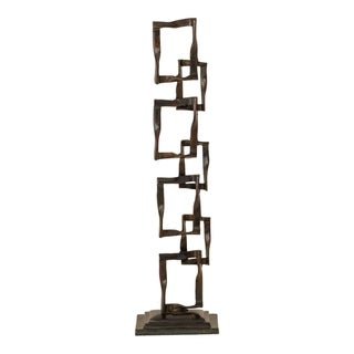 Aurelle Home Brown Abstract Square Sculpture