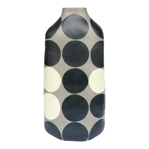 Aurelle Home Grey and Black Ecomix Modern Tall Vase