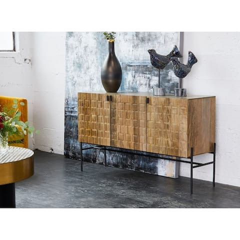 Aurelle Home Carved Wood and Iron Sideboard