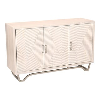 Aurelle Home Carved White Washed Mango Wood Sideboard