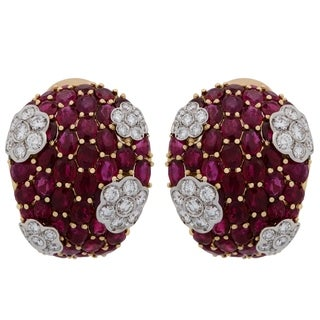 Massoni 18K Yellow Gold Diamond Ruby Clip On Earrings
