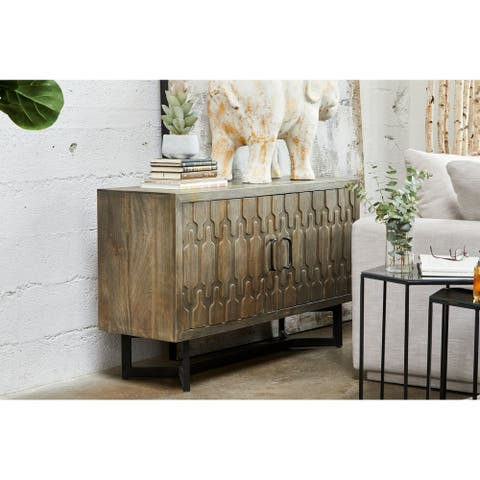 Aurelle Home Versilla Grey Modern Wood Sideboard
