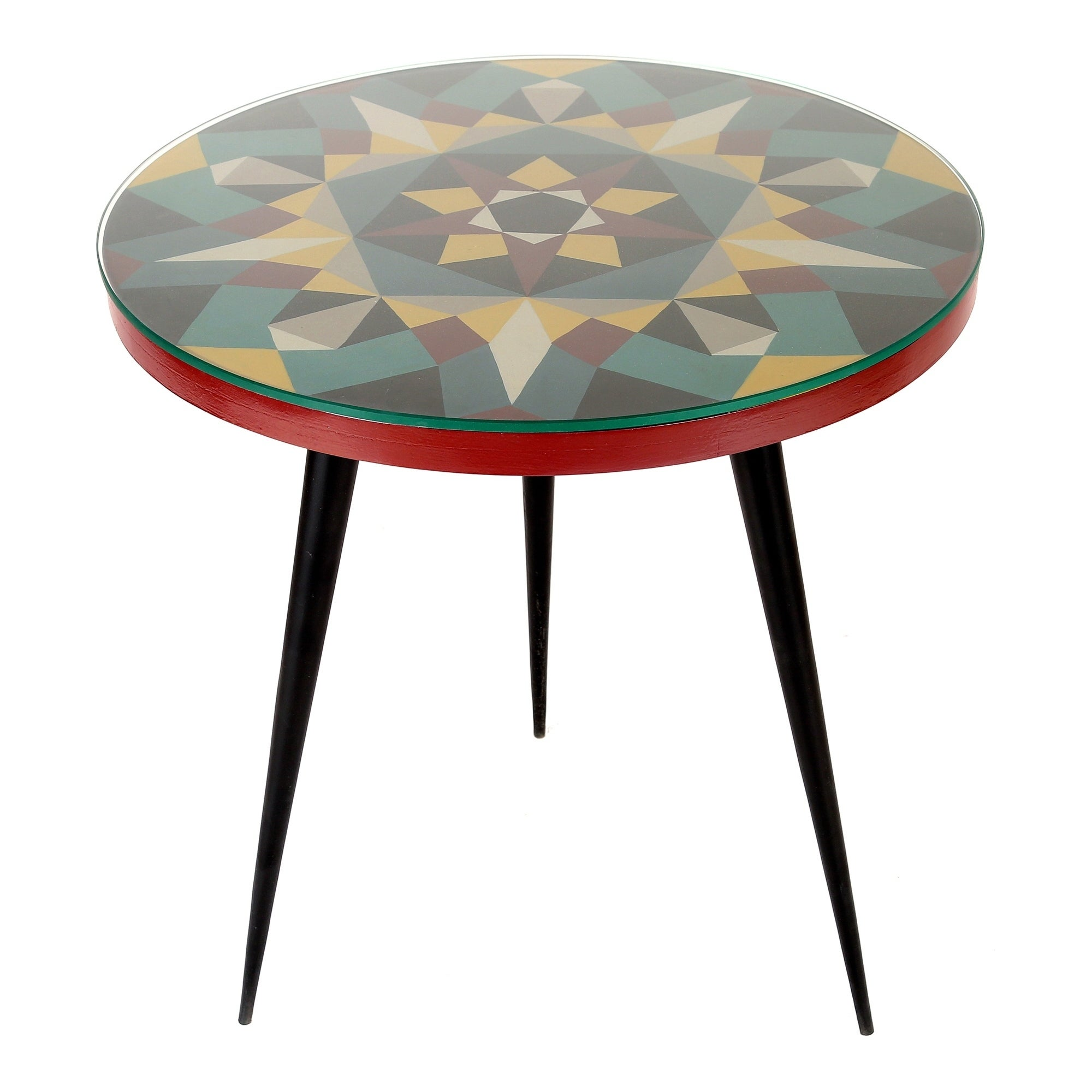low priced 049c4 aa0d6 Aurelle Home Geometric Glass Top Accent Table
