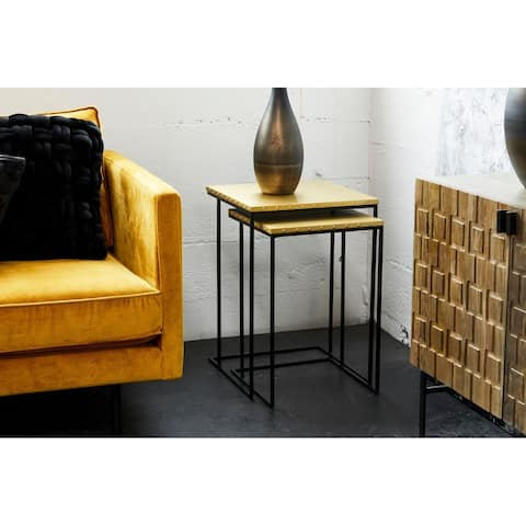 Aurelle Home Brass Industrial Nesting Tables (Set of 2)
