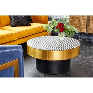 Aurelle Home Brass Contemporary Geometric Coffee Table