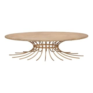 Aurelle Home Wood and Brass Contemporary Coffee Table