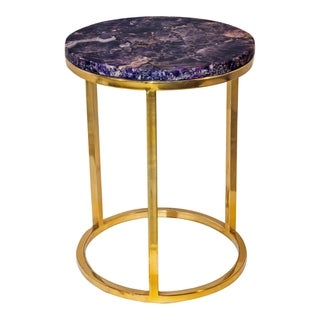 Aurelle Home Purple Contemporary Natural Top Accent Table