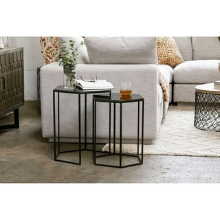 Aurelle Home Black Modern Nesting Tables (Set of 2)