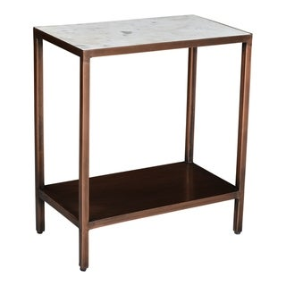 "Aurelle Home Bonita White Marble and Iron Accent Table - 22"" x 20"" x 10"""