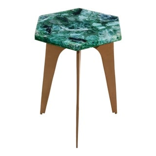Aurelle Home Green Contemporary Natural Top Accent Table