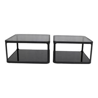 Aurelle Home Glass and Iron Contemporary Cocktail Tables (Set of 2)