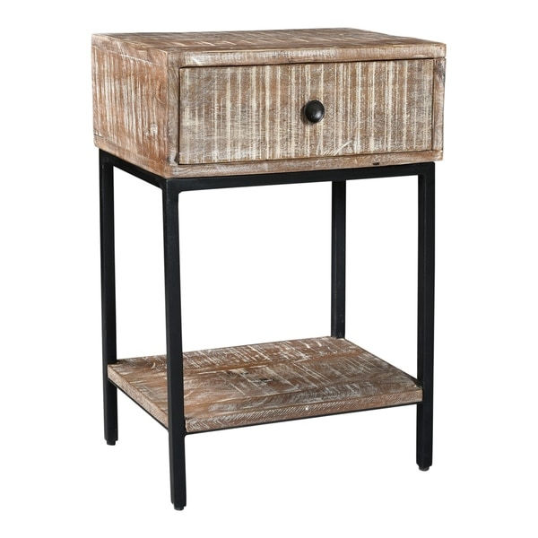 Aurelle Home Modern Mango Wood and Iron Accent Table