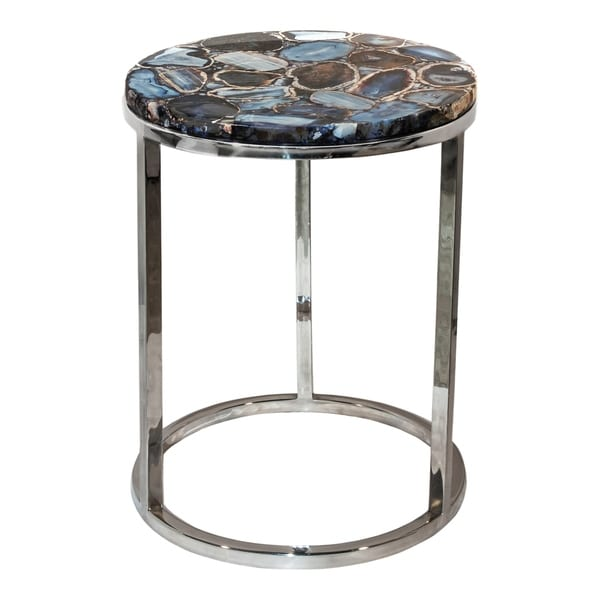 Aurelle Home Silver Contemporary Natural Top Accent Table