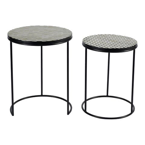 Aurelle Home Modern Brass Nesting Tables (Set of 2)