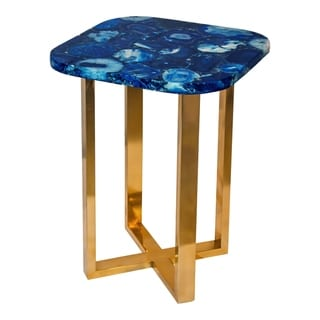 Aurelle Home Blue Contemporary Natural Top Accent Table