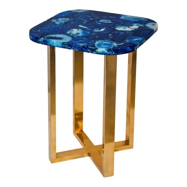 Aurelle Home Blue Contemporary Natural Top Accent Table
