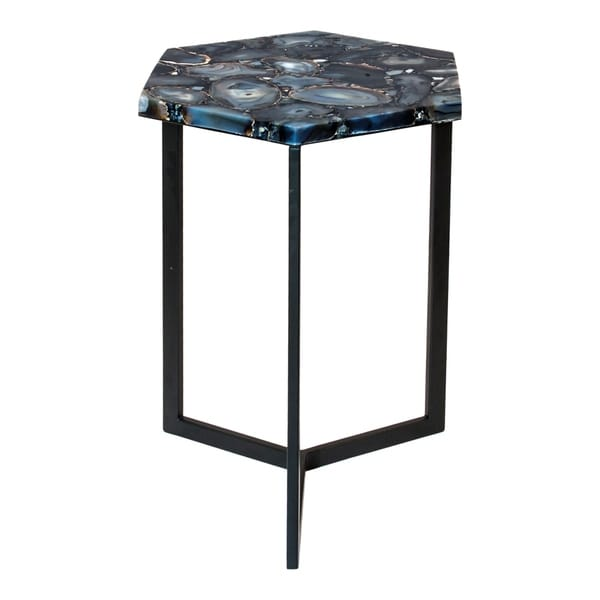 Aurelle Home Black Contemporary Natural Top Accent Table