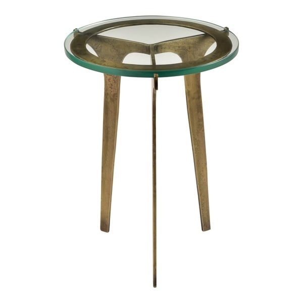 Aurelle Home Brass Glass and Iron Contemporary Accent Table