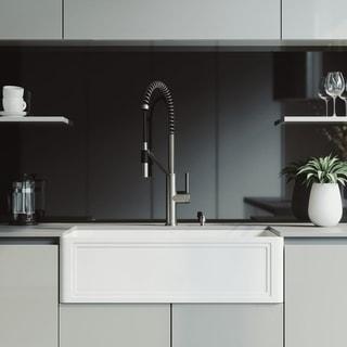 VIGO 33-Inch Crown Apron Front Matte Stone Farmhouse Kitchen Sink