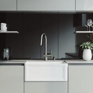 VIGO 24-Inch Crown Apron Front Matte Stone Farmhouse Kitchen Sink