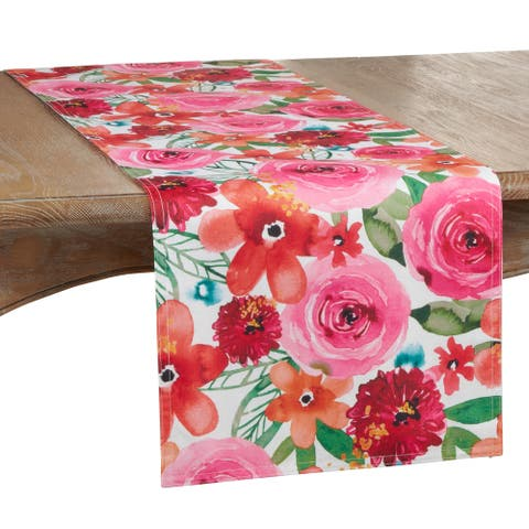 Long Table Runner With Floral Design