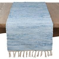 Saro Lifestyle Amalfi Collection Aqua Cotton Tasseled Design Chindi Runner