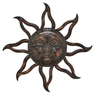 Three Hands Sun Face Copper-Finished Metal Wall Decor