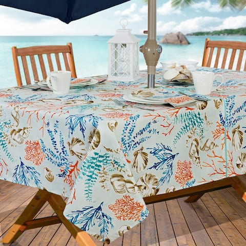 Coastal Settings Stain Resistant Indoor Outdoor Tablecloth
