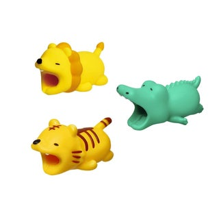 3-pack WILD COLLECTION iPhone & Android Cable Protectors Animal Biters - Lion, Tiger, Alligator