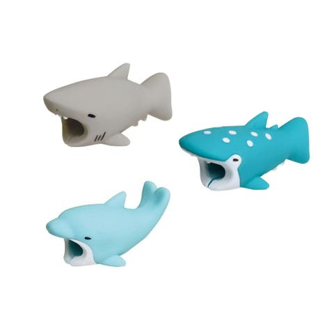 3-pack SEA COLLECTION iPhone & Android Cable Protectors Animal Biters - Shark, Dolphin, Whale Shark