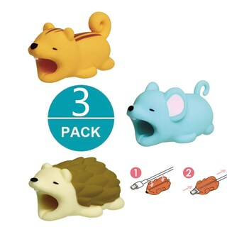 3-pack RODENT COLLECTION iPhone & Android Cable Protectors Animal Biters - Squirrel, Hedgehog, Mouse