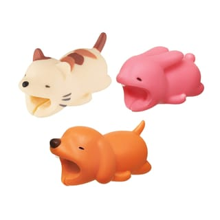 3-pack PET COLLECTION iPhone & Android Cable Protectors Animal Biters - Dog, Cat, Bunny