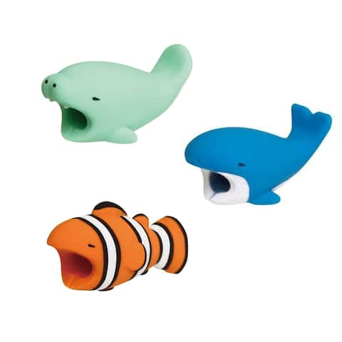 3-pack OCEAN COLLECTION iPhone & Android Cable Protectors Animal Biters - Blue Whale, Clown Fish, Manatee