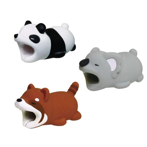 3-pack FUZZY COLLECTION iPhone & Android Cable Protectors Animal Biters - Panda, Koala, Racoon
