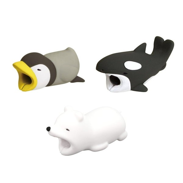 3-pack ARCTIC COLLECTION iPhone & Android Cable Protectors Animal Biters - Orca, Penguin, Polar Bear