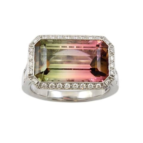 Platinum 7ct Color Changing Tourmaline Estate Cocktail Ring (G-H,VS1-VS2)