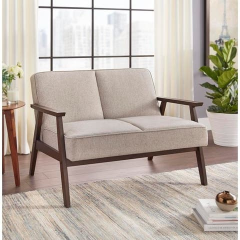 Simple Living Sonia Dark Walnut Rubberwood Loveseat with Linen-look Upholstery