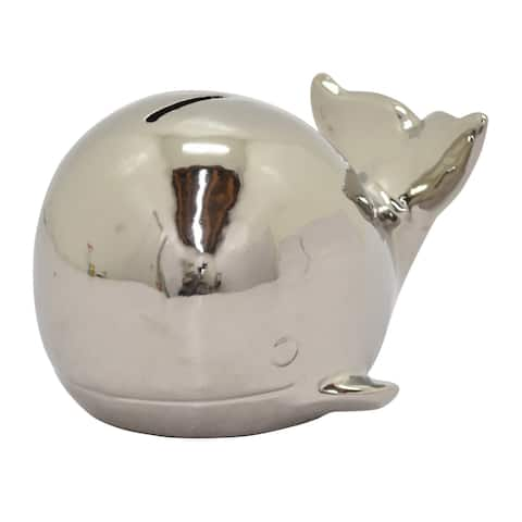 Three Hands Ceramic Whale Money Bank -Silver