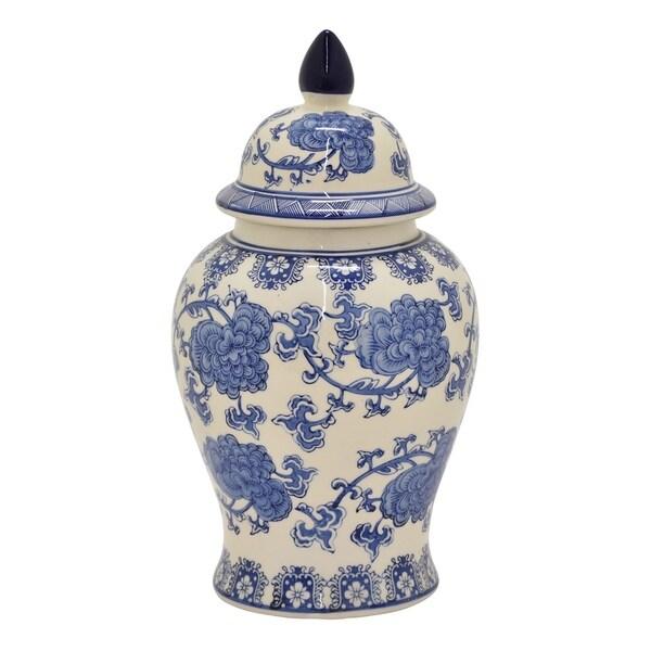 Three Hands Ceramic Jar - Blue And White