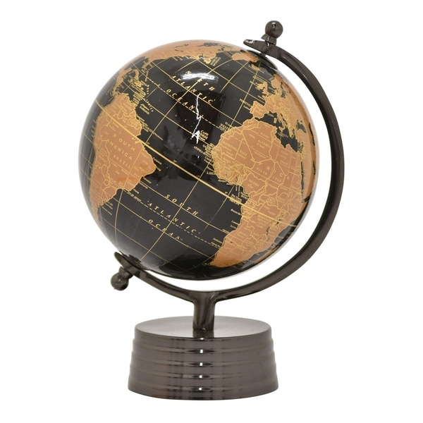 "Three Hands Globe 8"" - Nickel Black Base"