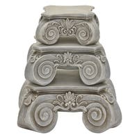 Three Hands Set Of Three Pedestals - Grey