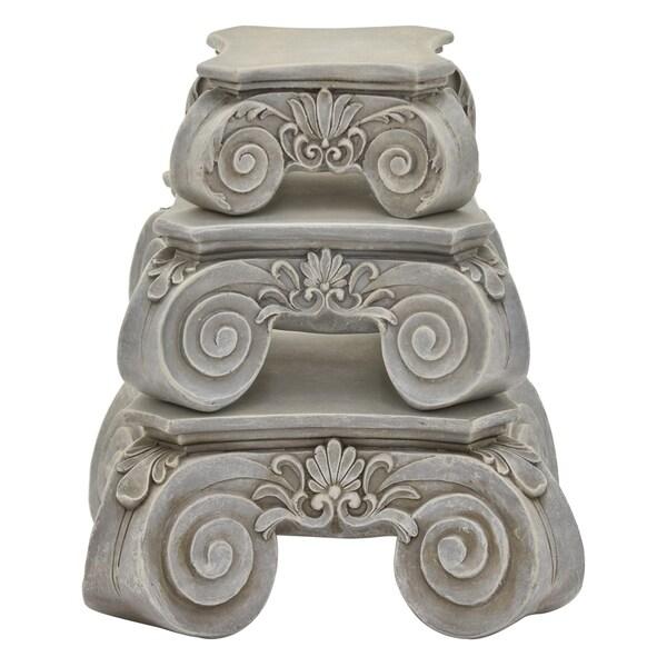 Three Hands Set Of Three Pedestals - Grey