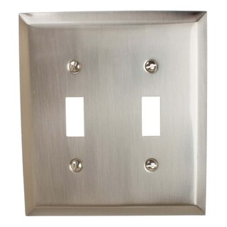 GlideRite 2-gang Toggle Wall Plate Cover Brushed Nickel (Pack of 3)