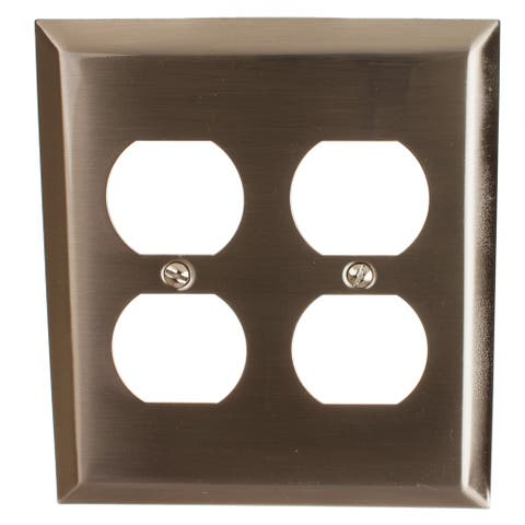 GlideRite 2-gang Outlet Wall Plate Cover Brushed Nickel (Pack of 3)