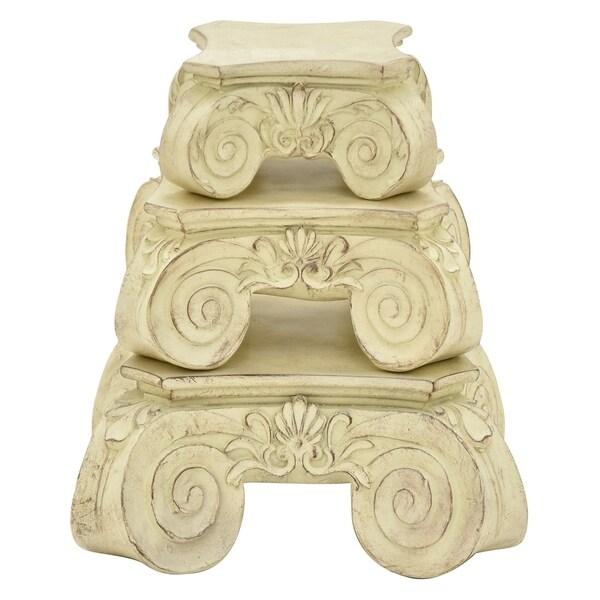 Three Hands Set Of Three Pedestals - White