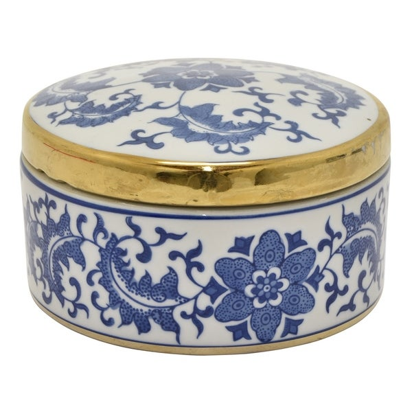 Three Hands Ceramic Blue And White Box With Gold Trim