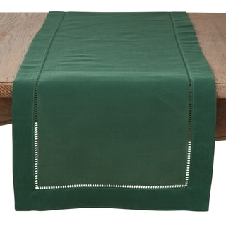 Link to Saro Lifestyle Jasper Green Classic Hemstitch Border Table Runner Similar Items in Table Linens & Decor