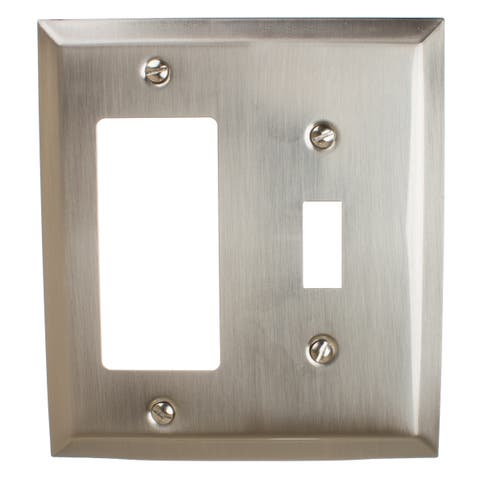 GlideRite 2-gang Toggle-Rocker Wall Plate Brushed Nickel (Pack of 3)